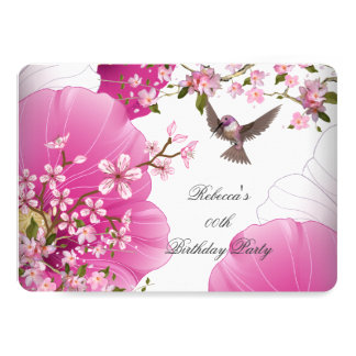 Pretty Pink Asian Blossom Bird Birthday Party 2L Card