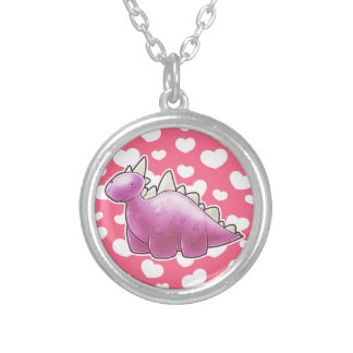 Pretty Pink Baby Dinosaur Personalized Necklace