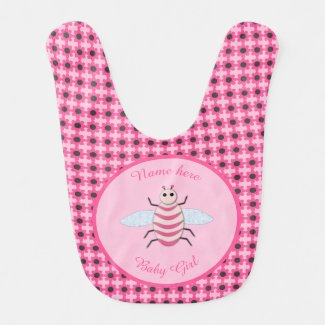 Pretty Pink Baby Girl Bee Custom Bib