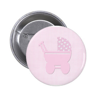 Pretty Pink Baby Girl Vintage Carriage 6 Cm Round Badge