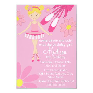 Pretty Pink Ballerina Dance Birthday Invitation