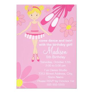 Pretty Pink Ballerina Dance Birthday Invitation