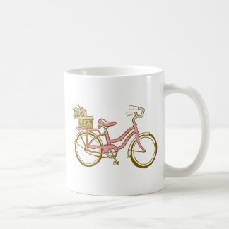 Pretty Pink Bicycle with Tulips Mugs