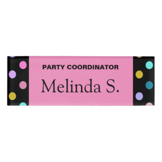 Pretty pink black confetti dots party name tag