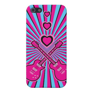 Pretty Pink & Black Guitars & Hearts Cases For iPhone 5