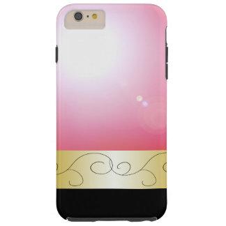 Pretty Pink Black Ornate Metallic Gold Elegant Tough iPhone 6 Plus Case