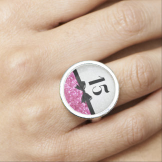 Pretty Pink/Black/White 15 Quinceanera Ring