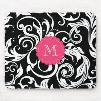 Pretty Pink Black White Monogram Floral Wallpaper Mouse Mat