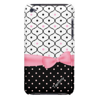 Pretty Pink, Black, & White Polka Dot Girly iPod Touch Cover