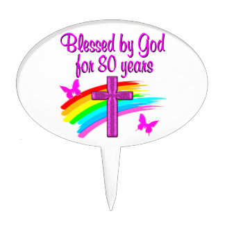 PRETTY PINK BLESSED BY GOD FOR 80 YEARS CAKE TOPPER