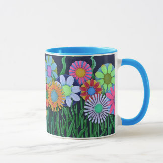 Pretty Pink, Blue, Green, Orange and Purple Flower Mug