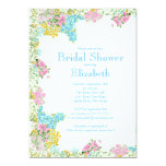 """Pretty Pink Blue Watercolor Flowers Bridal Shower 5"""" X 7"""" Invitation Card"""