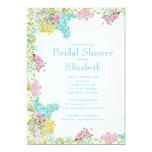 Pretty Pink Blue Watercolor Flowers Bridal Shower Custom Announcements