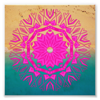 Pretty Pink Bohemian Mandala Beach Photo Print