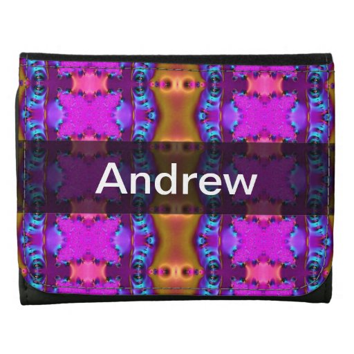 Pretty Pink Brown Fancy Abstract Design Leather Wallet