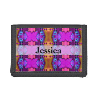 Pretty Pink Brown Fancy Abstract Design Tri-fold Wallets