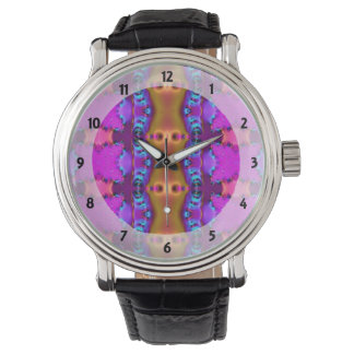 Pretty Pink Brown Fancy Abstract Design Watch