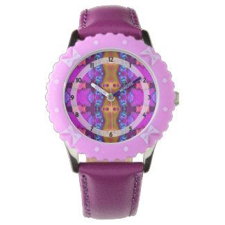 Pretty Pink Brown Fancy Abstract Design Wrist Watches
