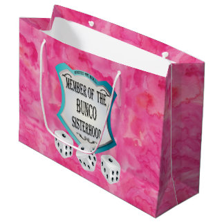 Pretty Pink Bunco Dice Fun Girls Night Out Large Gift Bag