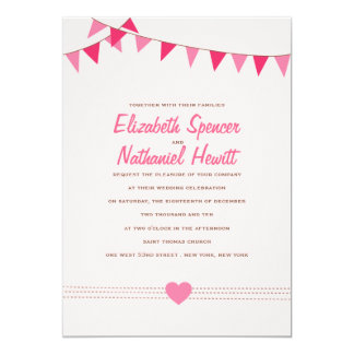 Pretty Pink Bunting Wedding Invitation