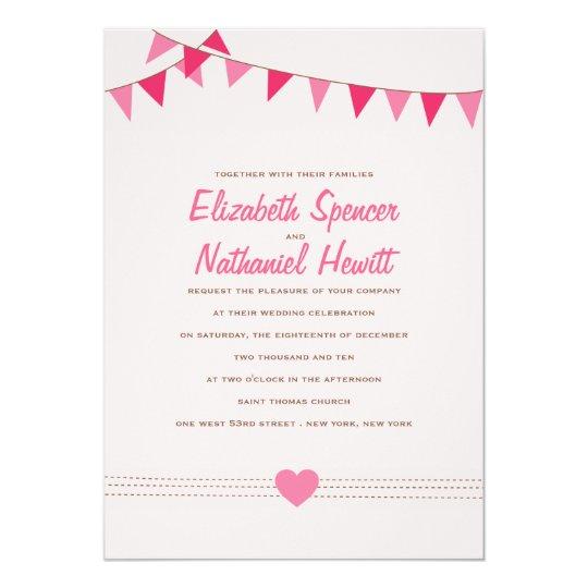 Pretty Pink Bunting Wedding Invitation