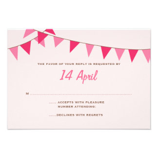 Pretty Pink Bunting Wedding RSVP Personalized Invitations