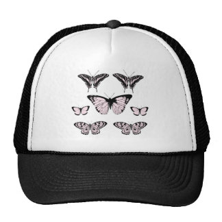 Pretty Pink Butterflies Mesh Hats