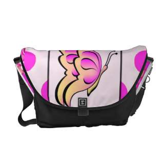 Pretty Pink Butterfly on Polka Dots Messenger Bag