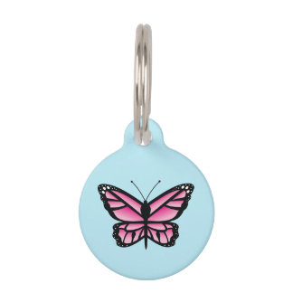 Pretty Pink Butterfly Pet Name Tag