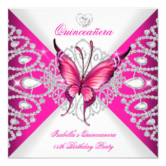 Pretty Pink Butterfly Tiara Quinceanera 15th Party 13 Cm X 13 Cm Square Invitation Card