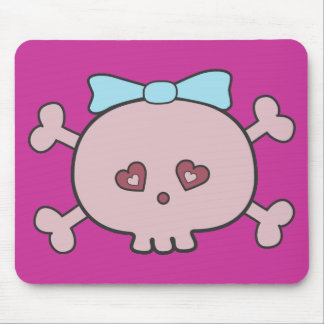 Pretty Pink Cartoon Skull With Ribbon Mouse Pad