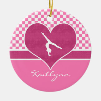 Pretty Pink Checkered Gymnastics with Monogram Christmas Ornament