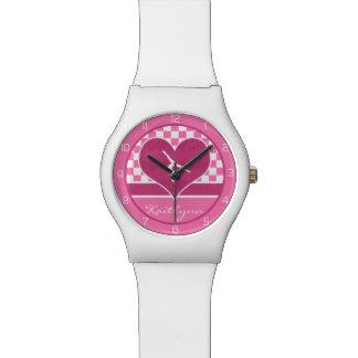 Pretty Pink Checkered Gymnastics with Monogram Wrist Watches