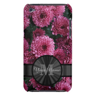 Pretty pink Chrysanthemum  flower monogram iPod Touch Cover