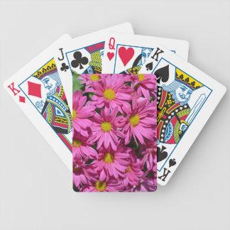 Pretty pink chrysanthemum flowers print card decks