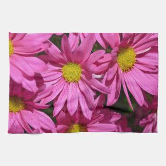 Pretty pink chrysanthemum flowers print hand towel
