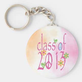 Pretty Pink Class OF 2013 Basic Round Button Key Ring