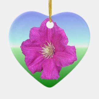 Pretty Pink Clematis Flower Ceramic Heart Decoration