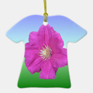 Pretty Pink Clematis Flower Double-Sided T-Shirt Ceramic Christmas Ornament