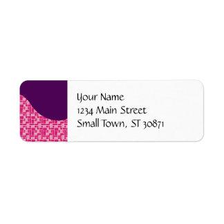 Pretty Pink Colorful Tiles Purple Wave Pattern Return Address Label