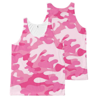 Pretty Pink Colors Camouflage Pattern All-Over Print Tank Top