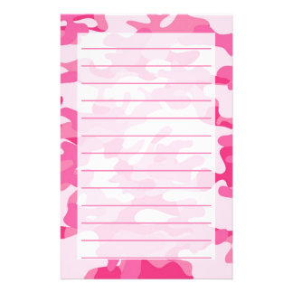 Pretty Pink Colors Camouflage Pattern Stationery