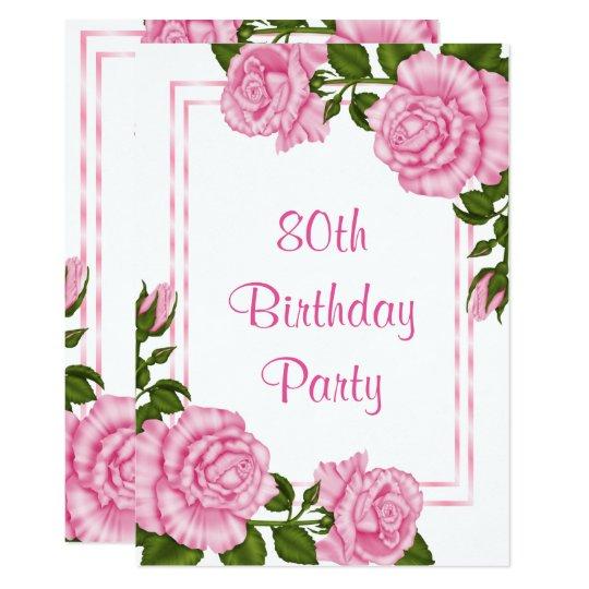 Pretty Pink Corner Bouquets 80th Birthday Card