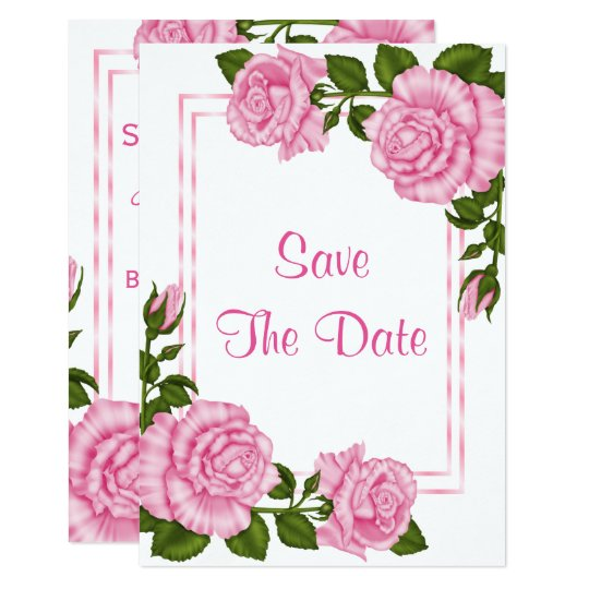 Pretty Pink Corner Bouquets 80th Save The Date