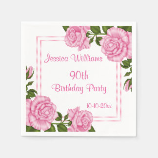 Pretty Pink Corner Bouquets 90th Paper Napkin