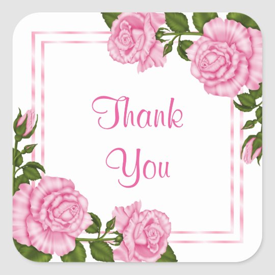 Pretty Pink Corner Bouquets Birthday Thank You Square Sticker