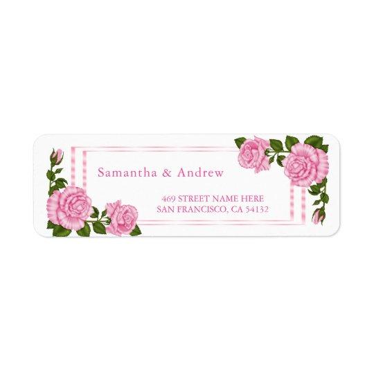 Pretty Pink Corner Bouquets Wedding Return Address Label