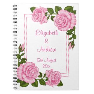 Pretty Pink Corner Bouquets Wedding Spiral Notebook