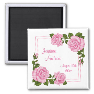 Pretty Pink Corner Bouquets Wedding Square Magnet