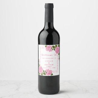 Pretty Pink Corner Bouquets Wedding Wine Label